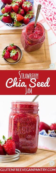 Strawberry Chia Seed Jam - 4 ingredients and less than 20 minutes needed. Vegan & Gluten-free | http://glutenfreeveganpantry.com