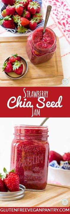 Strawberry Chia Seed Jam - 4 ingredients and less than 20 minutes needed. Vegan & Gluten-free | http://glutenfreeveganpantry.com