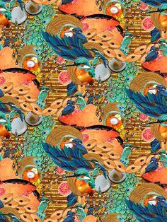 Chikoo Kingfisher Half Drop Repeat #collage #pattern