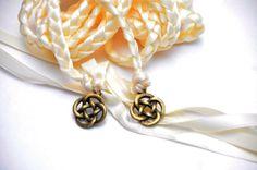 Celtic Knot Wedding Hand Fasting/ Binding Cord ~ Choose ribbon color & charm…