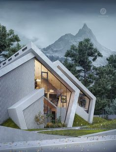 Mountain Concrete House Pentahouse by Wamhouse Studio Karina Wiciak of Wamhouse studio has imagined a family home inspired by the contours of a mountain peak. With this concept in mind, and as the name Mountain Concrete House Model Architecture, Architecture Design Concept, Architecture Sketchbook, Studios Architecture, Unique Architecture, Architecture Portfolio, Futuristic Architecture, Residential Architecture, Landscape Architecture