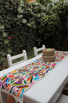 Gorgeous multi colored  Otomi Runner by CasaOtomi on Etsy,   Mexico, Tenango, mexican wedding, textile, mexican suzani, suzani, embroidery, hand embroidered, otomi, www.casaotomi.com, otomi, table runner, fiber art, mexican, handmade, original, authetic, textile , mexico casa, mexican decor, mexican interior, frida, kahlo, mexican folk,  folk art, mexican house, mexican home, puebla collection, las flores, travel tote, boho, tote, handbag, purse, cushion, pillow, gift basket