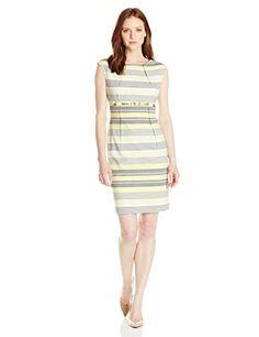 Calvin Klein Women's Petite Belted Striped Sheath Dress