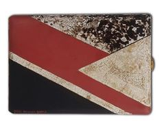 PAUL BRANDT. A GILDED METAL AND LACQUER CIGARETTE CASE.  The rectangular case applied with a geometrical design in red and black lacquer and further accented with eggshell lacquer sections, circa 1929, signed Paul Brandt Paris.