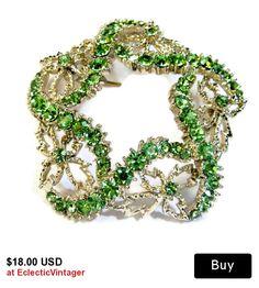 #vintagejewelry #rhinestonepin #limegreenbrooch