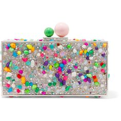 Sophia Webster Clara embellished acrylic box clutch ($500) ❤ liked on Polyvore featuring bags, handbags, clutches, silver, cell phone purse, acrylic purse, neon purse, colorful handbags and clasp purse