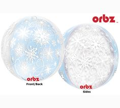 Frozen Snowflakes Orbz Balloons use a unique multi-film process combining clear and metalized panels!