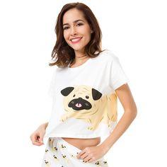 9ab79d2faf Women's Cute Pug Printed Crop Top Price: $ 17.98 & FREE Shipping  #nightlife