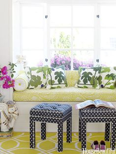 Think of polka dots as a neutral. Design: Krista Ewart. Photo: Victoria Pearson. housebeautiful.com. #window_seat #stools #polka_dots #pattern #green