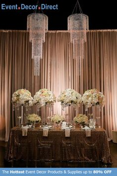 Event Decor Direct's Large 4-Tiered Chandeliers are perfect for event designers that want to add some sparkle to their decor. The premium quality acrylic crystals keep them lightweight and affordable. We have many different styles, sizes and colors available. And most chandeliers ship free when your order totals $99 or more. Shop Now at EventDecorDirect.com Tall Wedding Centerpieces, Wedding Stage Decorations, Wedding Wreaths, Wedding Flowers, Chandelier Wedding Decor, Wedding Reception Lighting, Chandelier Centerpiece, Wedding Receptions, Acrylic Chandelier