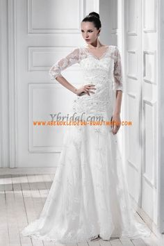 Luxuriöse Brautkleider mit Spitze und Satin mit Ärmel