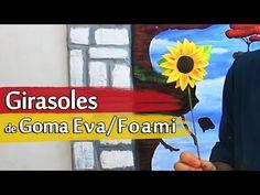 Cómo hacer Girasoles de Goma Eva o Foami - YouTube Flower Video, Pattern Paper, Paper Flowers, Frozen, Patterns, Deco, Youtube, Molde, Fabric Flowers