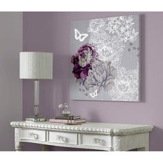 Flowers Butterflies Wall Art by Monsoon - Floral Metallic Wall Coverings by Graham Brown $35
