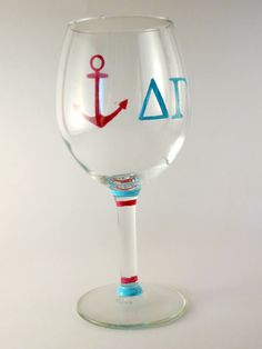 Delta Gamma Sorority Hand Painted Wine Glass by ARTbyKVB on Etsy, $10.00
