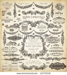 Christmas decoration collection | Set of calligraphic and typographic elements, frames, vintage labels, ribbons, borders, holly berries and Xmas balls. All ornaments for holiday invitation design. - stock vector