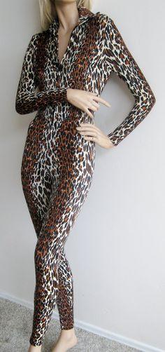 Vintage 50s Vanity Fair Leopard Catsuit Nylon Spandex Stretch Jungle Queen Zip Front Jumpsuit. $325.00, via Etsy.