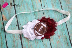 Texas A Aggie Football Chiffon Shabby Headband- Newborn/Infant/Toddler/Adult. $8.00, via Etsy.