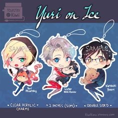Yuri on Ice Charms Keychain 2 inch by KiwiToasterlicker on Etsy