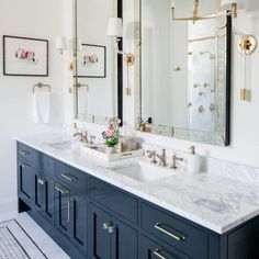 Here are the 12 Design Tips to Make a Small Bathroom Better from Install a c. Chic up your bathroom with gold glam details and classic navy touches care of Timeless Bathroom, Beautiful Bathrooms, Modern Bathroom, Small Bathroom, Spa Master Bathroom, Master Bedroom, Bathroom Vintage, Guest Bathrooms, Bathroom Mirrors