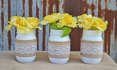 Elegant White Burlap and Lace Mason Jar Set by TheSouthernOrange