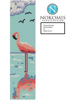 Fishing Flamingo Peyote Stitch Bracelet Pattern Digital Download by NokomisBeadAndDesign on Etsy