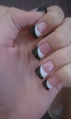 black and white solar nails