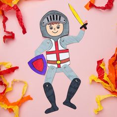 We love this moving model of St George! Eyfs Activities, Fun Activities For Kids, Group Activities, Puppet Crafts, Vbs Crafts, Castle Theme Classroom, St George Flag, Castle Crafts, Tapestry Of Grace