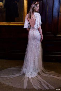 berta bridal fall 2016 flutter sleeves vneck trumpet beaded wedding dress (16 110) bv keyhole train