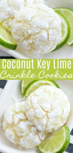 Sweet and just a bit tart with a heavenly coconut smell while baking, these Coconut Key Lime Crinkle Cookies are just the right sized dessert bite for all your warmer weather grilling and Mexican meals. Key Lime Desserts, Cookie Desserts, Plated Desserts, Cookie Favors, Gourmet Desserts, Lemon Desserts, Key Lime Cookies, Key Lime Cupcakes, Key Lime Whoopie Pies