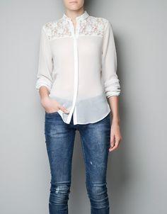 LACE SHIRT - Shirts - Woman - ZARA