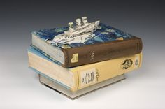 "Richard Shaw, ""3 Stacks - Book Jar"", a porcelain (ceramic) sculpture, Seager/Gray Gallery"