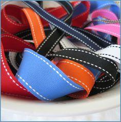 Stitched grosgrain ribbon