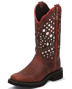 "Share with your friends and receive a coupon for your next order! Justin Women's 12"" Laser Cut Redwood Wide Square Toe Boot"