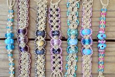 Pandora's inspirations - macrame bracelets made with hemp and Lampwork/Pandora style beads