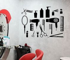 Wall Sticker Vinyl Decal Hair Salon Barbershop Beauty Salon Cool Decor *** To view further for this item, visit the image link. (This is an affiliate link) Home Hair Salons, Home Salon, Vinyl Wall Stickers, Wall Decals, Salon Stations, Salon Art, Hair Spa, Salon Style, Salon Design