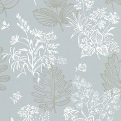 Norcombe Wallpaper A pretty wallpaper with floral sprays printed in greige and white on a powder blue ground. The sketched line lends an air of informality, while the order impressed by the repeating pattern means the design us extremely usable in a contemporary home whilst retaining a true narrative of the 1950s style.