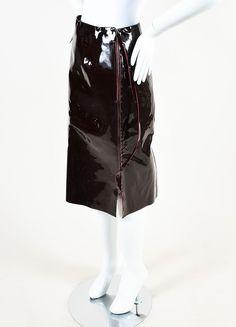 Maison Martin Margiela Maroon Patent Leather Midi Pencil Skirt