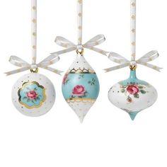 Royal Albert Country Roses Polka Blue Ornaments Set of 3 #RoyalAlbert