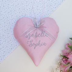 Silk Name Heart by Tuppenny House Designs, the perfect gift for Explore more unique gifts in our curated marketplace. Ivory Silk, Pink Silk, Pink Blue, Little Girl Gifts, Tooth Fairy, Blue Bags, Kid Names, New Baby Products, Personalized Gifts