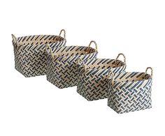 Set de 4 cestas de madera de álamo y mimbre - azul