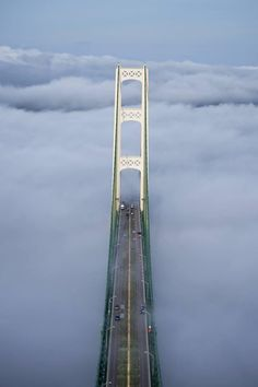 A fog has settled in on the Mighty Mackinac Bridge