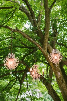 Yes, to pink chandeliers in trees!