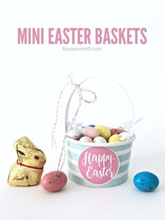 These mini Easter baskets are simple to put together and look great as a part of Easter place settings or as sweet little gifts for a friend or neighbor.