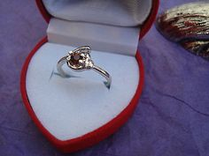Amber Crystal & Silver Ring-Size 6 Heart Gift Boxed GREAT Gift USA Seller