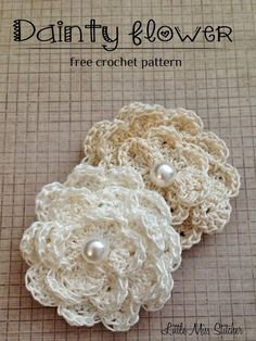 Dainty DIY Crochet Flowers With Free Pattern Wonderful DIY Dainty Crochet Flower Free Pattern Diy Crochet Flowers, Crochet Simple, Crochet Diy, Crochet Motifs, Knitted Flowers, Crochet Flower Patterns, Flower Applique, Thread Crochet, Crochet Crafts