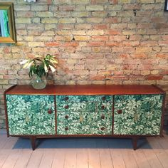 Upcycled vintage retro mid century A. Younger sideboard decoupaged in Fornasetti Chiavi Segrete paper