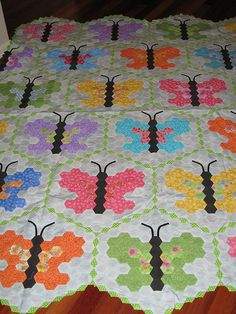 English paper pieced #butterfly hexagon #quilt