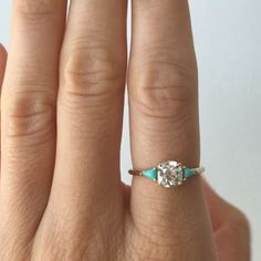 turquoise in white partial gold three engagement stone moissanite ring rings products