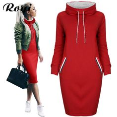 Rogi Women Turtleneck Dress 2017 Winter Long Sleeve Drawstring Tracksuit Pullovers Hoodies Bodycon Jumper Sweatshirt Vestidos