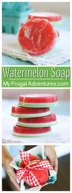 Adorable DIY watermelon soap. Perfect homemade gift- so quick and so easy!